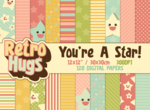 Retro Hugs | Digital Paper Pack | You're A Star!
