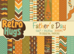 Retro Hugs | Digital Paper Pack | Father's Day | Moustache and Bow Tie