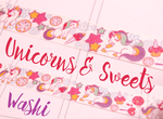 Unicorn Washi Tape | Unicorn and Sweets | Cute Kawaii Masking Tape