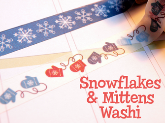 Snowflakes & Mittens Washi Tape | Cute Winter Masking Tape
