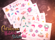 Retro Hugs | Christmas Watercolour Stickers | 4 Sheets